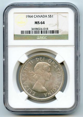 1964 Ngc Ms64 Canada Silver $1 Dollar photo