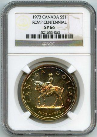 1973 Ngc Sp66 Canada $1 Silver Dollar Rcmp Centennial Soft Pastel Tone photo