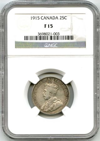 1915 Ngc F15 Canada 25c Quarter photo