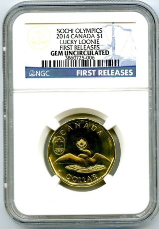 2014 Canada $1 Sochi Olympics Lucky Loonie Ngc Gem Uncirculated First Releases photo