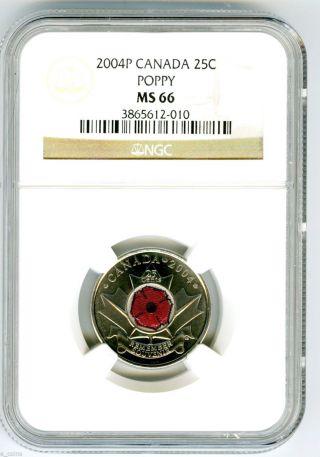 2004 P Canada 25 Cent Ngc Ms66 Poppy Quarter Colorized Rare Grade Low Pop photo