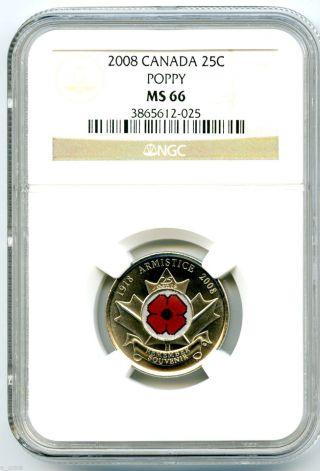 2008 Canada 25 Cent Ngc Ms66 Poppy Quarter Colorized Rare Grade Low Pop photo