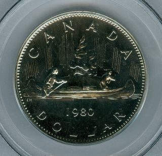 1980 Canada Dollar Pcgs Pl - 69 Solo Finest Graded Very Rare photo