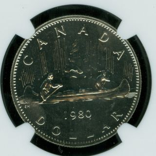 1980 Canada $1 Clad Dollar Ngc Ms67 2nd Finest Graded photo