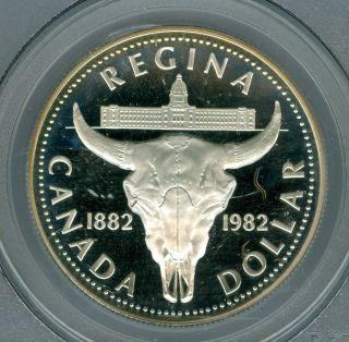 1982 Canada $1 Regina Dollar Pcgs Pr68 Ultra Heavy Cameo photo
