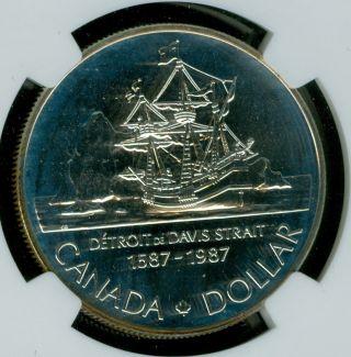 1987 Canada Silver Dollar John Davis $1 Ngc Ms69 Finest Graded Pop - 2 photo