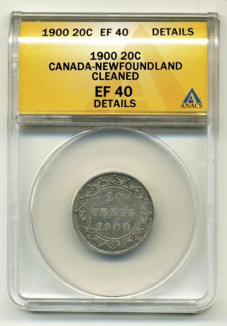 Canada - Newfoundland 20 Cents 1900, .  925 Silver,  Anacs Ef 40 Details photo