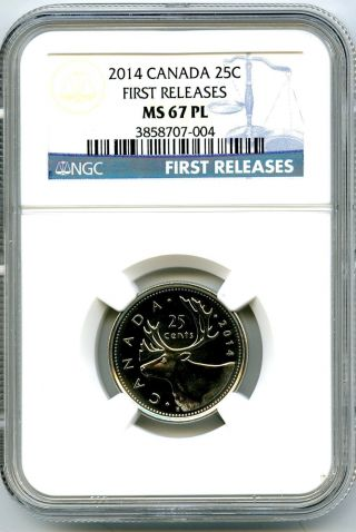 2014 Canada 25 Cent Quarter Ngc Ms67 Pl Proof Like First Releases Rare photo