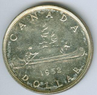 1952 Wl Canada Silver Dollar Mid Gem Bu State Grade. photo
