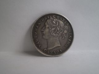 Canada 1858 - - 20 - - Twenty Cents - - Silver - - Au - - - - - - Obv - - - - - No Tax photo