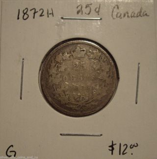 Victoria 1872h Silver Twenty Five Cents - G photo