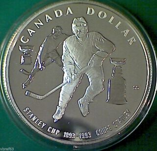 1993 Canada Proof Silver Dollar Stanley Cup Centennial - Heavy Cameo photo