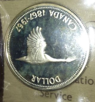 Canada 1967 Commemerative Goose 80% Silver Dollar Iccs:sp65 Cameo photo