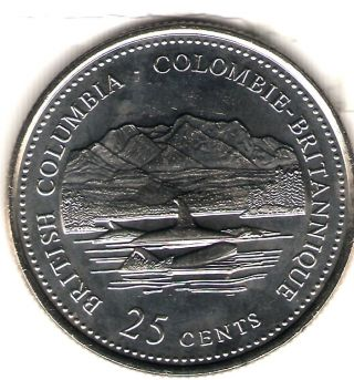 1992 Canada Uncirculated 25 Cent Commemorative British Columbia Quarer photo