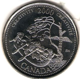 2000 Canada Uncirculated 25 Cent Commemorative Millennium Creativity Quarer photo
