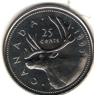 1993 Canada Elizabeth Ii Uncirculated Caribou Quarter Coin photo