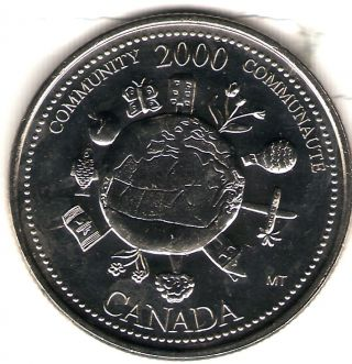 2000 Canada Uncirculated 25 Cent Commemorative Millennium Community Quarer photo