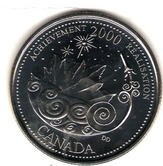 2000 Canada Uncirculated 25 Cent Commemorative Millennium Achievment Quarter photo