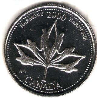 2000 Canada Uncirculated 25 Cent Commemorative Millennium Harmony Quarter photo