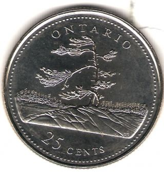 1992 Canada Uncirculated 25 Cent Commemorative Ontario Quarer photo