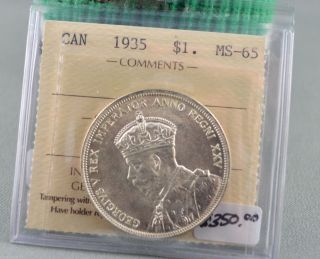 1935 Canadian State 65 Silver Dollar photo