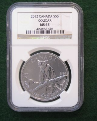 2012 Canada Silver $5 Cougar Ngc Ms65 ; photo