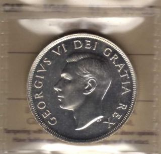 1949 Canada Silver Dollar.  Iccs Ms - 65 photo