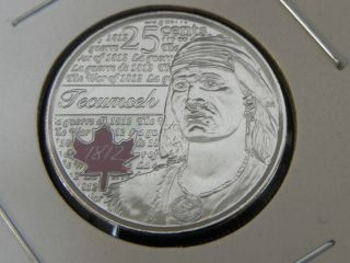 2012 Ms Unc Canadian Canada 1812 Tecumseh Colored Quarter Twenty Five 25 Cent photo