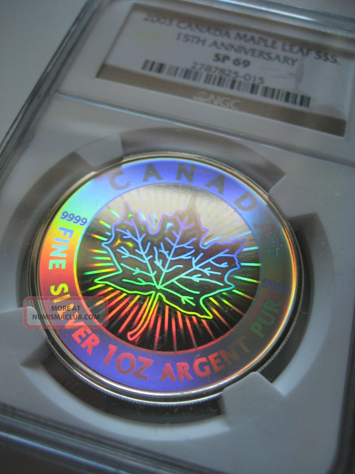 2003 Canada 5 Silver Maple Leaf 15th Anniversary