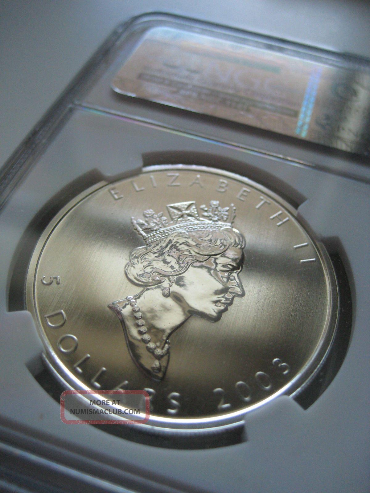 2003 Canada 5 Silver Maple Leaf 15th Anniversary