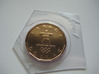 2010 Canada $1 - Olympic Lucky Loonie - Numismatic Bu / Proof - Like - photo