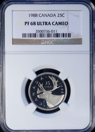 1988 Canada 25 Cents Ngc Pf 68 Ultra Cameo Unc photo