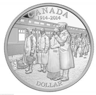 2014 Proof Silver Dollar,  100th Anniv.  Of Declaration 1st World War.  9999 Silver photo