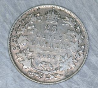 Rare 1927 Canada 25 Cents Silver Twenty - Five Cents Fine F - - Key Date photo