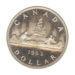Canada - Elizabeth Ii - Dollar 1963 Prooflike Cameo - Silver photo