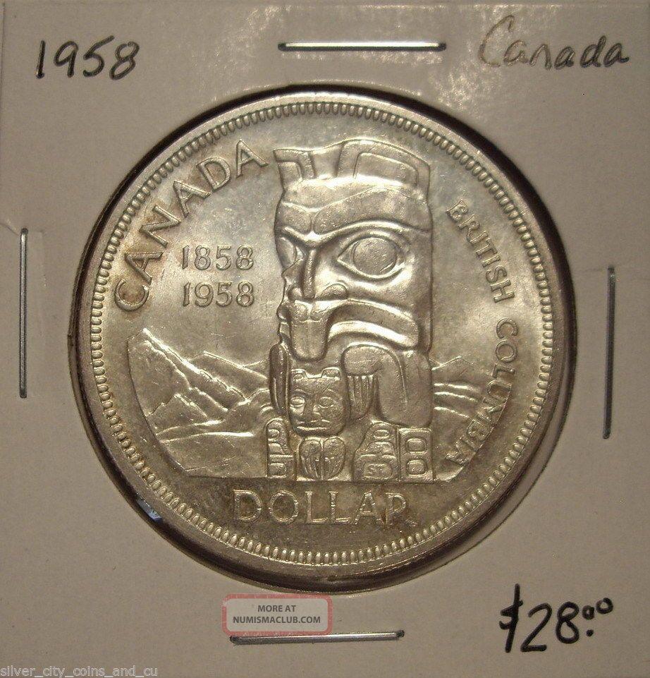 Canada 1958 Elizabeth Ii Silver Dollar Bu