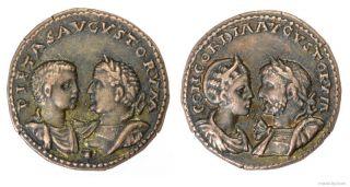 Roman Æ Medallion Of Valerianus I,  Caius Publius Licinius,  Salonius,  Salonina photo