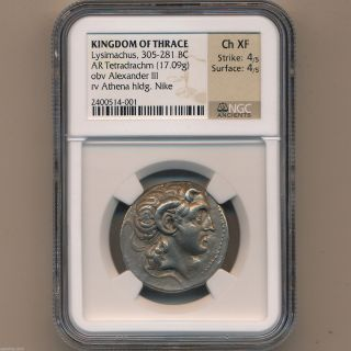 Greek Silver Ancient Coin Tetradrachm Lysimachus 305 - 281 Bc Thrace Ngc Ch Xf photo
