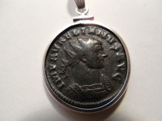 275 - 276 Ad Authentic Roman Coin Picturing Emperor Aurelian - Sterling Bezel & Bail photo