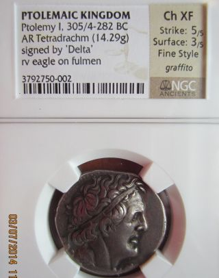 Ptolemy I 305/4 - 282 Bc Tetradrachm Signed By Delta Fine Style photo