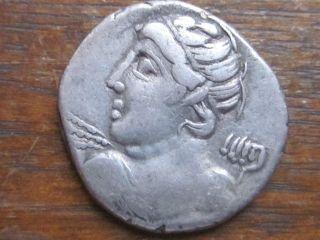 84bc C.  Licinius Macer Denarius - Head Of Apollo - Thunderbolt - Minerva - Silver photo