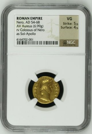 Roman Empire,  Nero,  Ad 54 - 68,  Av Aureus,  Ngc Grade & Certified photo