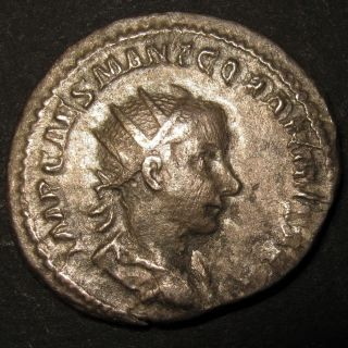 Ancient Rome Gordian Iii Silver Antoninianus Emperor Gordian Holds Spear & Globe photo