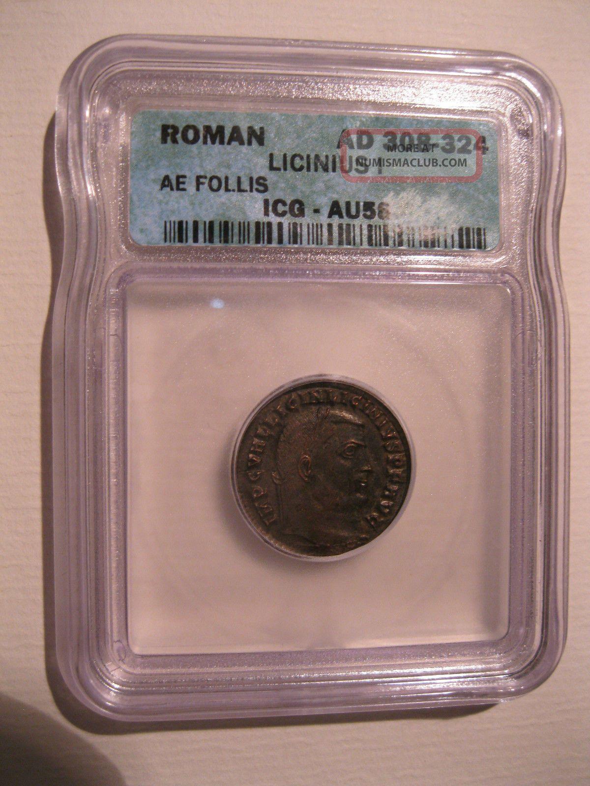 Roman Licinus I 308 - 324ad Ae Follis Icg Au58 Great Example And Price Coins: Ancient photo
