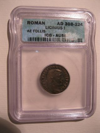 Roman Licinus I 308 - 324ad Ae Follis Icg Au58 Great Example And Price photo