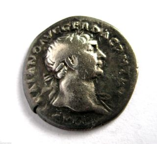 100 A.  D British Found Emperor Trajan Roman Period Imperial Silver Denarius Coin photo