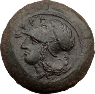 Sicily: Syracuse; 406 Bc.  Bronze Drachm.  Athena.  Two Dolphins. photo
