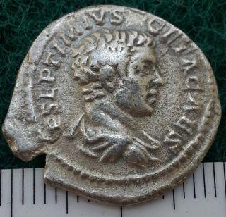 Emperor Geta,  203 - 208 Ad.  Laodicea Ancient Roman Silver Denarius photo
