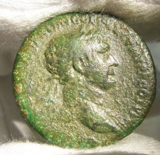 Ancient Rome Trajan Ae As Winged Victory Patina Spqr Principi Germania Dacia Rr photo