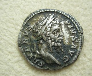 Ancient Rome Silver Denarius Septimius Severus Vota Sacrifice Altar F/vf S4 photo